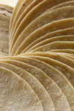 Corn Tortilla Spiral Display. Stack of corn tortillas that are fanned out into a spiral Royalty Free Stock Photography