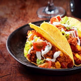 Corn tortilla or taco with meat and vegetables Royalty Free Stock Photos