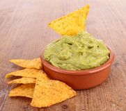 Nachos and guacamole Royalty Free Stock Images