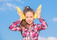 Corn vegetarian and healthy organic product. Vegetarian nutrition concept. Kid girl hold yellow corn cob on sky. Background. Girl cheerful hold ripe corns royalty free stock images