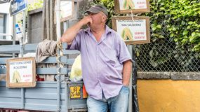 Corn Vendor in Furnas on the island of Sao Miguel, Portugal. A street vendor selling corn cooked in the volcanic hotsprings near Furnas on the island of Sao royalty free stock image