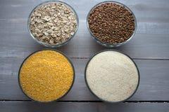 Corn wheat oat buckwheat porridge Royalty Free Stock Photos
