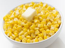Corn whit butter. Savor dish of hot corn with butter stock photo