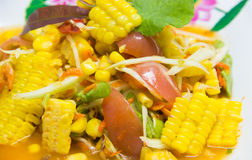 Corn whit spicy papaya salad . Stock Images