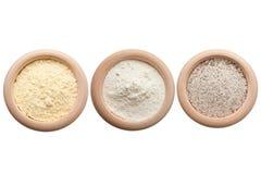 Corn, white and buckwheat flour Stock Images