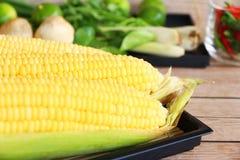 Corn on wood Royalty Free Stock Image