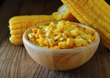 Corn in wood bowl Royalty Free Stock Photo