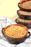Corn yallow background. Corn in rustic ceramic yallow background royalty free stock image