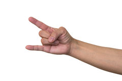 Corna. Hand sign by middle aged Japanese man Royalty Free Stock Photos