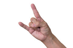 Corna. Hand sign by middle aged Japanese man Royalty Free Stock Images