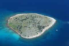 Cornati Island, Croatia. Aerial view of a cornati island with yacht in Croatia Royalty Free Stock Photo
