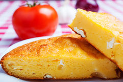 Cornbread with cheese close up Royalty Free Stock Image