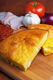 Cornbread with cheese, vegetables and meat Royalty Free Stock Photo