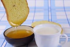Cornbread with honey Royalty Free Stock Photo