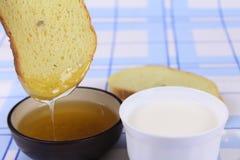 Cornbread with honey and milk Stock Image