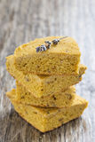 Cornbread with lavender, selective focus Stock Image