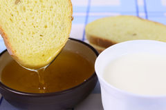 Cornbread with milk and honey Royalty Free Stock Photography