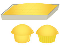 Cornbread and muffins. Cornbread in pan and muffins isolated on a white background Stock Photos