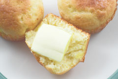 Cornbread Muffins. Steaming hot and fresh cornbread muffins Stock Photos
