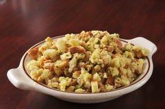 Cornbread stuffing. A bowl of cornbread stuffing in turkey broth Royalty Free Stock Photo