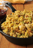 Cornbread stuffing iwth turkey bits Royalty Free Stock Photo
