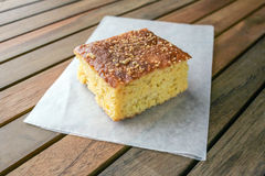 Cornbread on white parchment paper Royalty Free Stock Photography