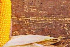 Corncob en la madera foto de archivo libre de regalías
