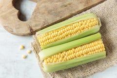Corncob. Fresh raw corncob on jute cloth Stock Photography