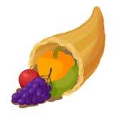 Corne d'abondance avec l'icône de fruit, style de bande dessinée Photos stock