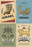 Corne d'abondance de l'Israël, lion, David Star et palmier dattier illustration stock