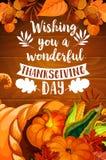 Corne d'abondance de thanksgiving sur l'affiche en bois de fond Image libre de droits