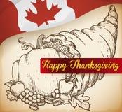 Corne d'abondance tirée par la main avec des légumes pour le jour canadien de thanksgiving, illustration de vecteur Photo libre de droits