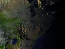 Corne de l'Afrique la nuit sur le modèle réaliste de la terre Images libres de droits