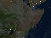 Corne de l'Afrique la nuit sur terre de planète Photos libres de droits