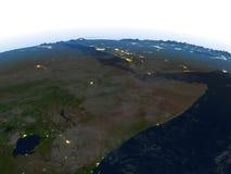 Corne de l'Afrique la nuit sur terre de planète Image libre de droits
