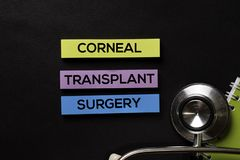 Corneal Transplant Surgery on top view black table with Healthcare/medical concept stock photos