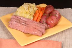 A corned beef and cabbage dinn Royalty Free Stock Images