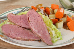 Corned Beef and Cabbage Dinner. With vegetables Stock Images