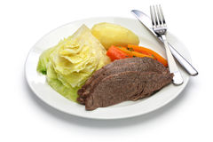 Corned beef and cabbage isolated on white background Stock Photos