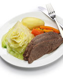 Corned beef and cabbage isolated on white background Royalty Free Stock Photography