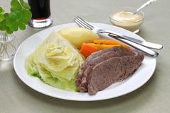 Corned beef and cabbage, st patricks day dinner. , irish cuisine Stock Image