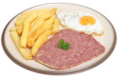 Corned Beef, Egg and Chips Royalty Free Stock Photo