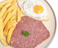 Corned Beef, Egg and Chips Stock Photos