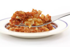 Corned beef hash on fork Royalty Free Stock Photo