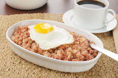 Corned beef hash with a fried egg Royalty Free Stock Image