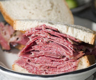 Corned beef pastrami  sandwich rye bread Royalty Free Stock Image