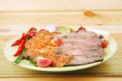 Corned beef on plate Stock Images