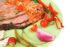 Corned beef on plate with vegetables Royalty Free Stock Photos