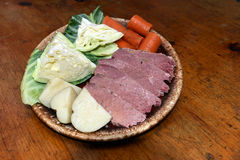 Corned beef platter  cabbage carrots potatoes for St. Patrick`s. Corned beef platter with cabbage carrots potatoes for St. Patrick`s Day Stock Image