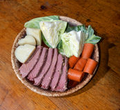 Corned beef platter  cabbage carrots potatoes for St. Patrick`s Stock Photography